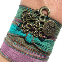 Om Silk Wrap Bracelet Owl Yoga Jewelry Bohemian Tree of Life Namaste Arm Band Unique Stocking Stuffer Christmas Gift Under 30 Item X23