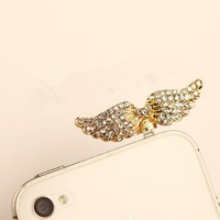 MagicPieces Angel Wings with Full Pave Rhinestone Plugy for iPhone Dust Proof Plugy Dust Plug 3.5mm Headphone Jack Plug for iPhone Samsung Blackberry iPad HTC