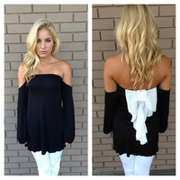 Black & White Tuxedo Bow Off Shoulder Top