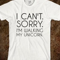 Supermarket: Walking My Unicorn T-Shirt from Glamfoxx Shirts