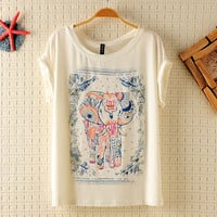 Vintage Lovely Elephant Print T-shirt white