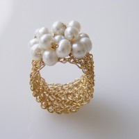 Romantic Crochet Ring  Goldfilled Ring with Fresh by orithadad