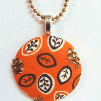 Welcome Back Fall Fabric Button Necklace from Kute As a Button Shop