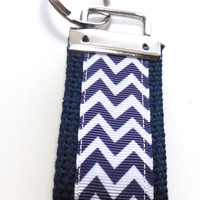 Chevron Navy Blue Mini Key Fob Key Ring