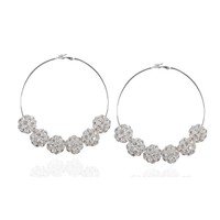 Accessories : Jewellery : Mistress Rocks : 'Mistress' Crystal Silver Ball Hoop Earrings