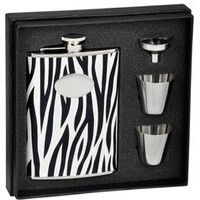 "Visol ""Zebra"" Black & White Leather 8oz Deluxe Flask Gift Set"