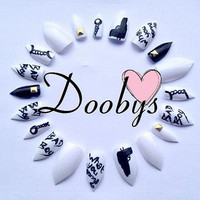 Doobys Stiletto - Bad Boys - 20 Hand Carved False Nails