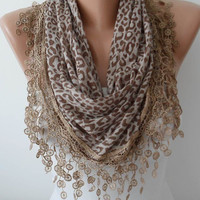 Brown Cotton Scarf with White Lace Trim Edge - Headband - Cowl -Transparent Leopard Fabric - Triangular Scarf
