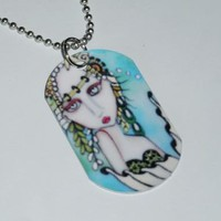 Sea Mist Mermaid Dog Tag Necklace on Handmade Artists' Shop