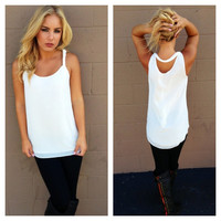 White Chiffon Open Back Sleeveless Blouse