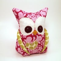 Owl bookend doorstop paperweight with Amy Butler by aprilfoss