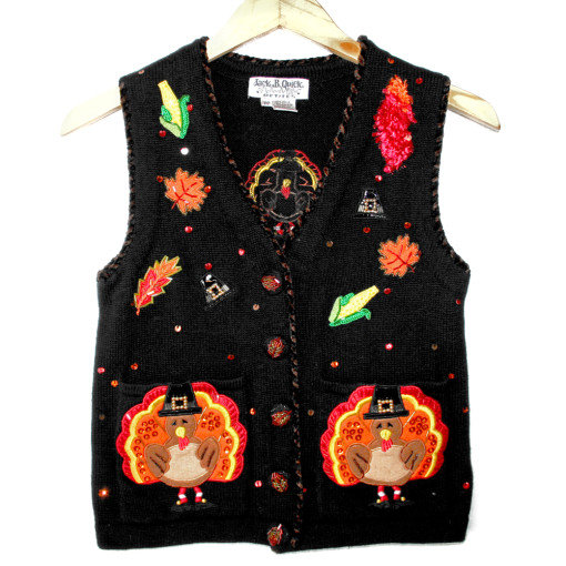 """Tony Danza is a Turkey"" Tacky Ugly Thanksgiving Sweater Vest - The Ugly Sweater Shop"