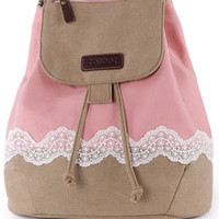 Leisure Fresh Lace Spliced Canvas Backpack