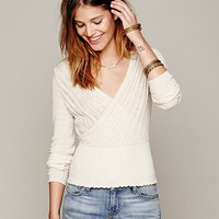 Free People Womens Wrap Front Sweater -