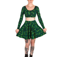 Sweet Leaf Set Set -Long Sleeve Crop Top & Circle Skirt