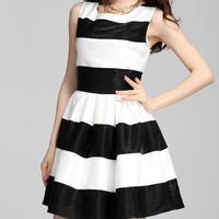 Fashion Stripes Stitching Slim Dress