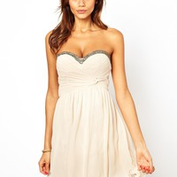 Little Mistress | Little Mistress Bandeau Prom Dress with Embellished Trim at ASOS
