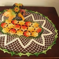 Fall Shaded Orange Flower Meadow - An Oval Crocheted Lace Doily Decor