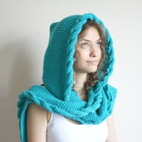 Free Shipping Turquoise  Wool Hooded Cabled  Long Scarf  Cowl  Under USD100