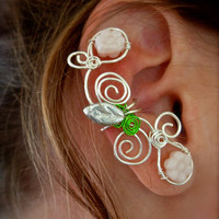Pair of Silver Plated Flower and Swirl Ear Cuffs, non pierced earring option 2 ear cuffs in this listing