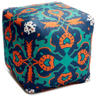 One Kings Lane - Downstairs - Mosaic Outdoor Pouf, Blue/Orange/Multi
