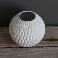 West German Modernist Matte Porcelain Honeycomb Vase by Thomas