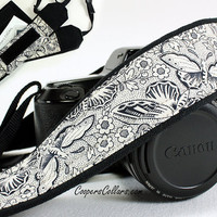 Butterflies dSLR Camera Strap, Pocket, Black, Antique White, SLR, 117