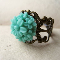 Teal Daisy Ring by PiggleAndPop