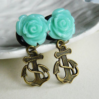 0g (8mm) Turquoise Rose and Anchor Plugs for stretched ears