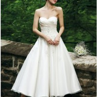 Tea Length Sweetheart Open Back Sexy Short Wedding Dresses