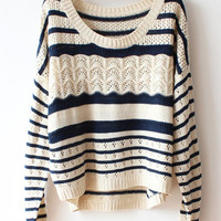 Fashion Cool Wave Striped Sweater&Cardigan