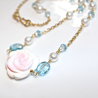 Swiss Blue Topaz Necklace Carved Conch Rose Necklace Pearl Station Necklace Topaz Jewelry Gemstone Jewelry FizzCandy