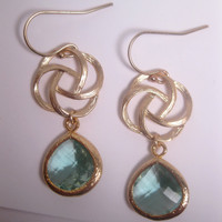 Prasiolite Drop Swirl Earrings With 14K Gold