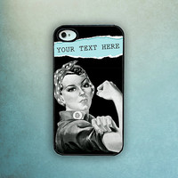 Rosie the Riveter Black and White with Text iPhone Case