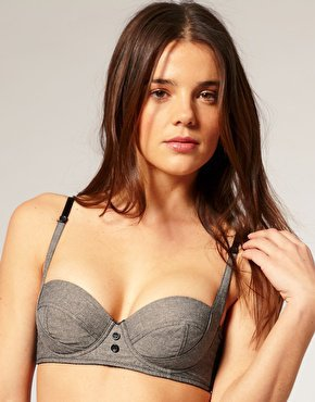 ASOS | ASOS Boudoir MARILYN Button Detail 50&#x27;s Underwired Padded Bra at ASOS