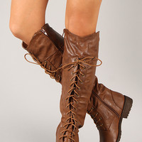 Lug-30HI Leatherette Lace Up Knee High Boot