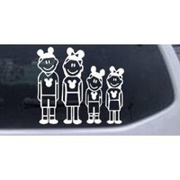 Mickey Mouse Disney 2 Kids Stick Family Stick Family Car Window Wall Laptop Decal Sticker -- White 6in X 5.4in