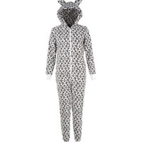 New Look Mobile | Teens White Fleece Leopard Ear Hooded Onesuit