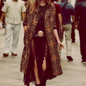 Free People Long Winded Tapestry Coat