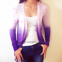 Purple Ombre Studded Knit Sweater Dip Dye by LivingYoungDesigns