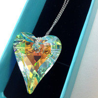 37 mm Swarovski Crystal Heart Pendant With Sterling Silver Chain