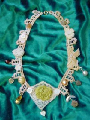HANDMADE NECKLACE OR CHOKER FROM VINTAGE BITS AND PIECES by junes