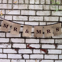 Mr and Mrs wedding signs hessian burlap banner custom colours rustic photo prop