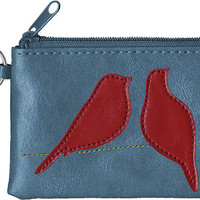 Lovebirds vegan leather coin purse-Blue - 