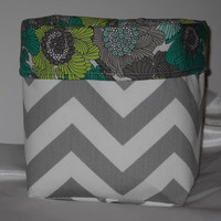 Gorgeous Gray Chevron Fabric Basket With Floral Liner