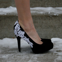 Black Heel With Venise Lace Applique Size 6 by walkinonair on Etsy