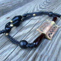 African Tabular Brass , Red Horn , Ebony Wood , Unisex , Tribal Necklace , Ethnic Bead