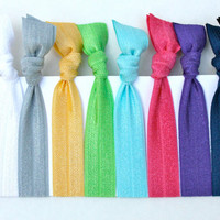 Fall Trend 2013 Yoga Hair Ties (10) Fabric Hair Bands - Emi Jay Like Ribbon Bracelet Hair Ties - Women's Hair Accessories Grab Bag