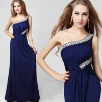 A Line One Shoulder Empire Beading Deep Blue Evening Dress [710511] - US$130.00 : AAAweddingdress.com - Free shipping for all