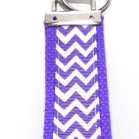 Chevron Purple Key Fob Key Ring Key Chain Wristlet